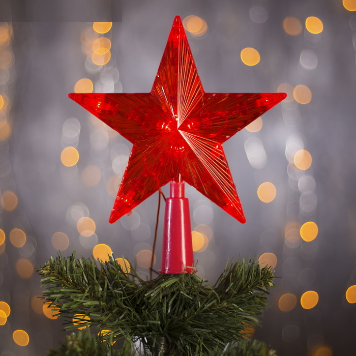Фигура светящаяся Звезда красная ёлочная 15х15 см свечение фиксинг фото