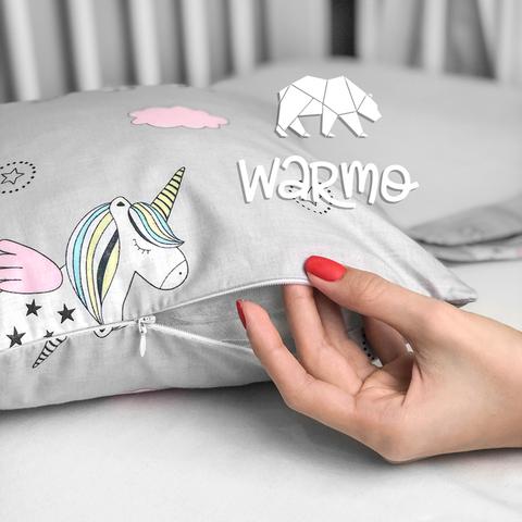Набір бортиків-подушок в ліжечко 30x30см СІРІ ЄДИНОРОГИ