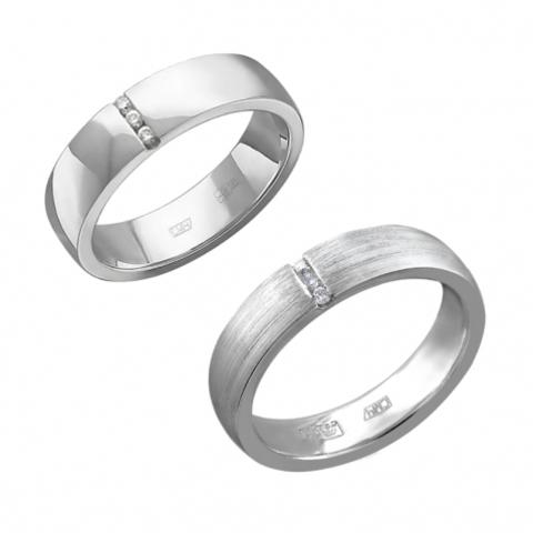 01О620371 -Обручальное кольцо из белого золота с бриллиантами