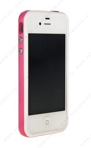 Бампер для iPhone 4s/ 4 белый с розовой полосой