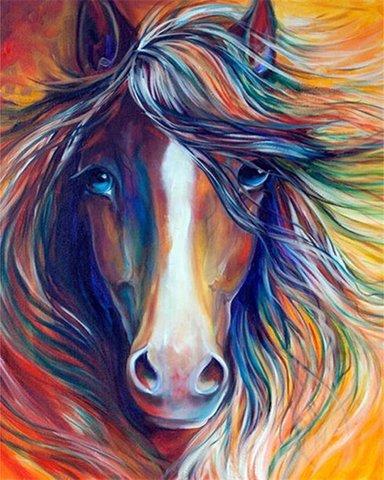 Алмазная Мозаика 30x40 Цветная лошадь