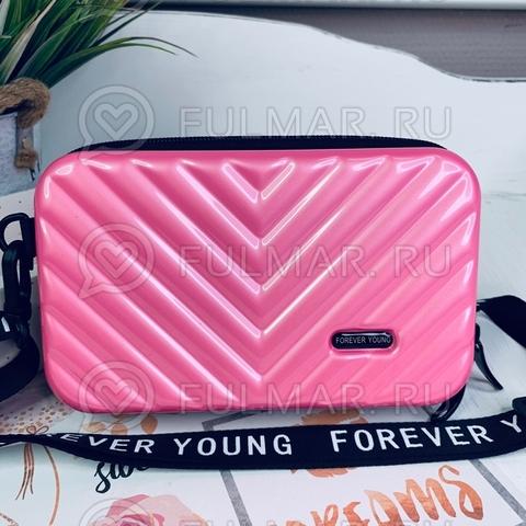 Клатч-сумка мессенджер через плечо женская маленькая Розовый Чемоданчик