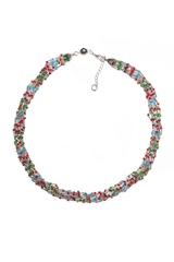 Бисерное ожерелье Facilità из 12 нитей серебристое мультиколор