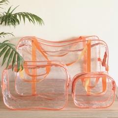 Прозрачная сумка в роддом с 2 косметичками, оранжевая, вид 2