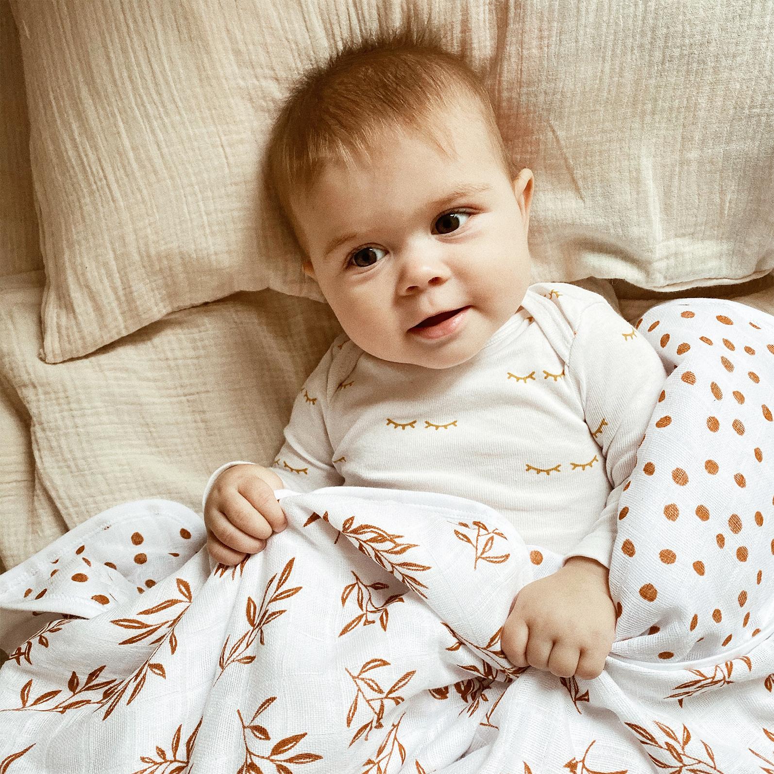 Муслиновое утеплённое одеяло Mjölk Basic Листья