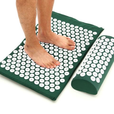 Массажный коврик Acupressure с подушкой (Темно-зеленый)