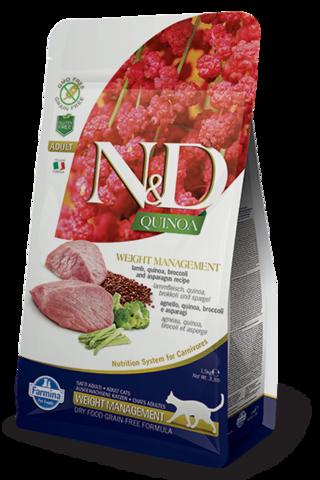 Сухой беззерновой корм Farmina N&D GF Cat Quinoa Weight Management Lamb