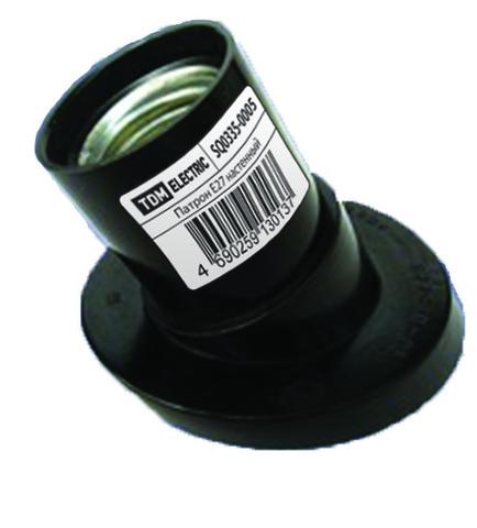 Патрон карболитовый настенный, Е27, черный. наклонный, TDM