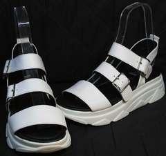 Белые летние босоножки спортивные на платформе женские Evromoda 3078-107 Sport White