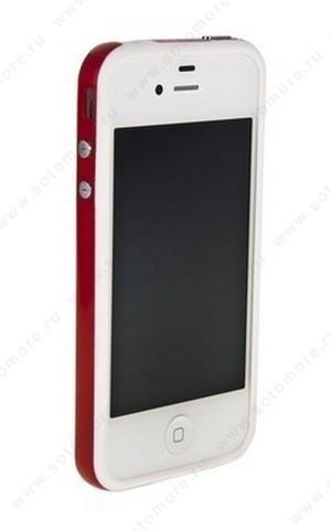 Бампер для iPhone 4s/ 4 белый с красной полосой