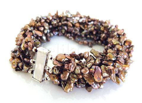 браслет из коричневого жемчуга кеши_браслет жемчу многорядный_фото