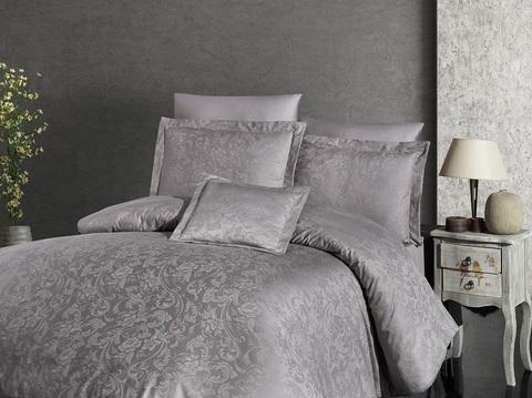 Комплект постельного белья DO&CO Тенсель жаккард  EXCLUSIVE 250TC SANDRA 2 спальный (Евро) цвет серо-коричневый