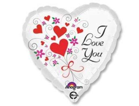 Фольгированное сердце I LOVE YOU белое
