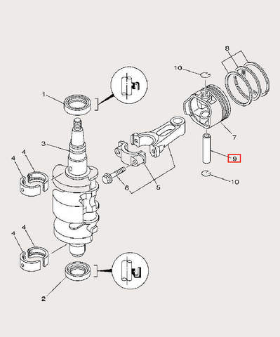 Палец поршневой для лодочного мотора F9,9 Sea-PRO (3-9)
