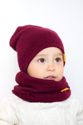 детская шапка из турецкой шерсти винная