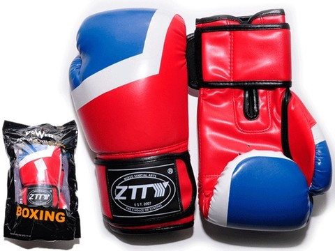 Перчатки боксёрские 10 oz: ZTQ-201-К Цвет - крысный с синими и белыми вставками.
