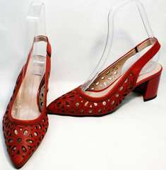 Красные женские босоножки с закрытым носом и открытой пяткой G.U.E.R.O G067-TN Red.