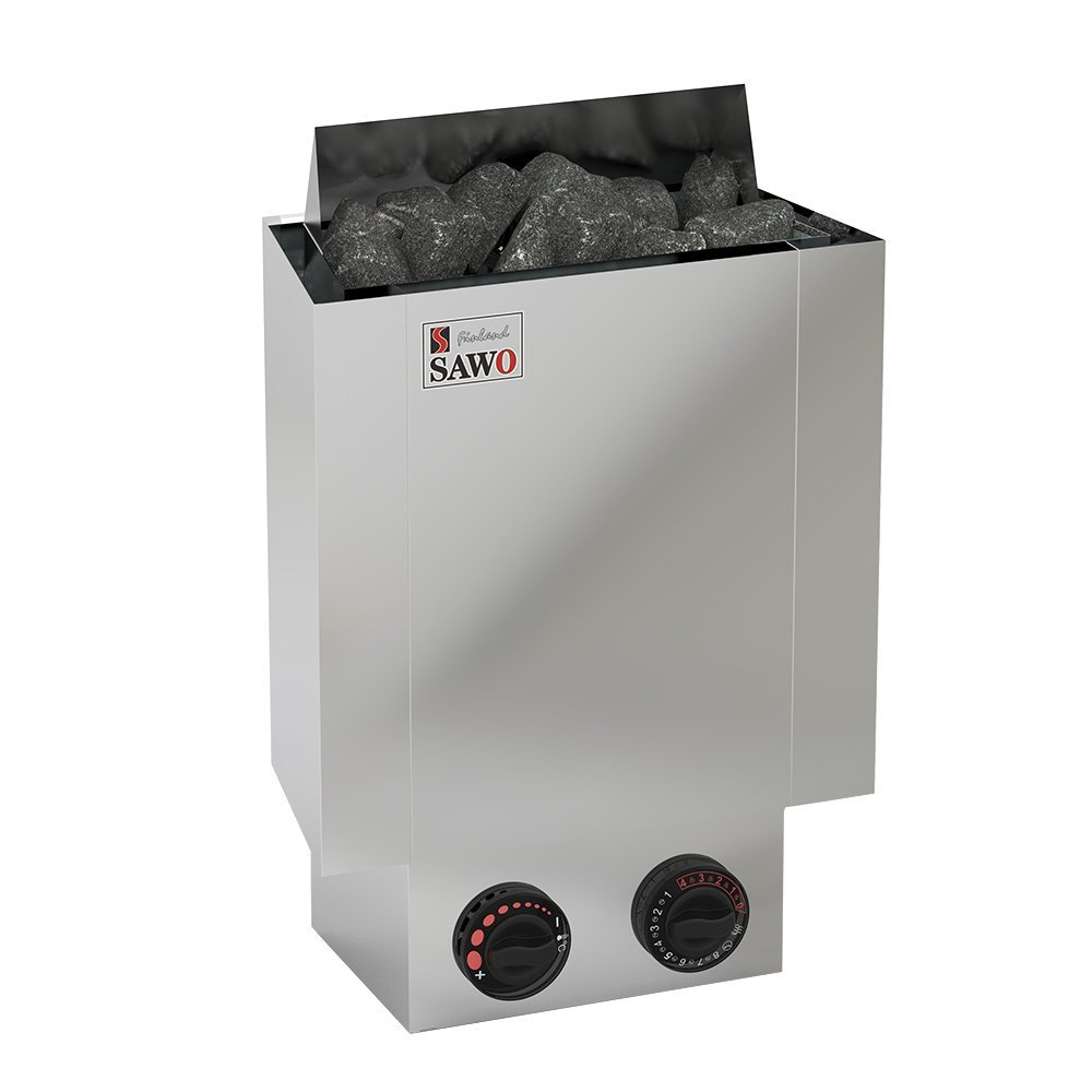 Серия Nordex: Электрическая печь SAWO NORDEX MINI NRMN-23NB-Z (2,3 кВт, встроенный пульт, внутри оцинковка, снаружи нержавейка)