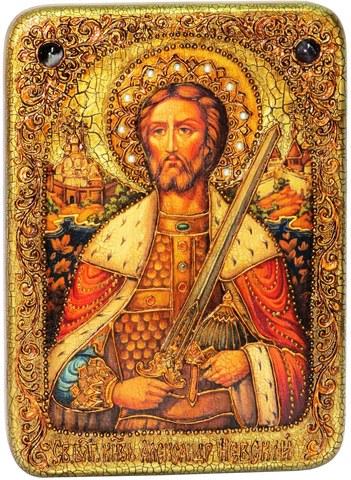 Инкрустированная икона Святой благоверный князь Александр Невский 29х21см на натуральном дереве в подарочной коробке