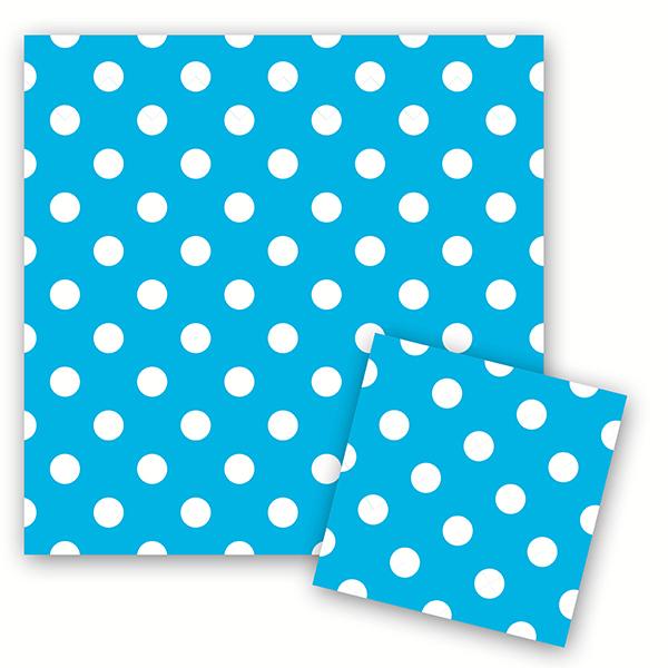 Салфетки Горошек Голубой 33см X 33см 12шт