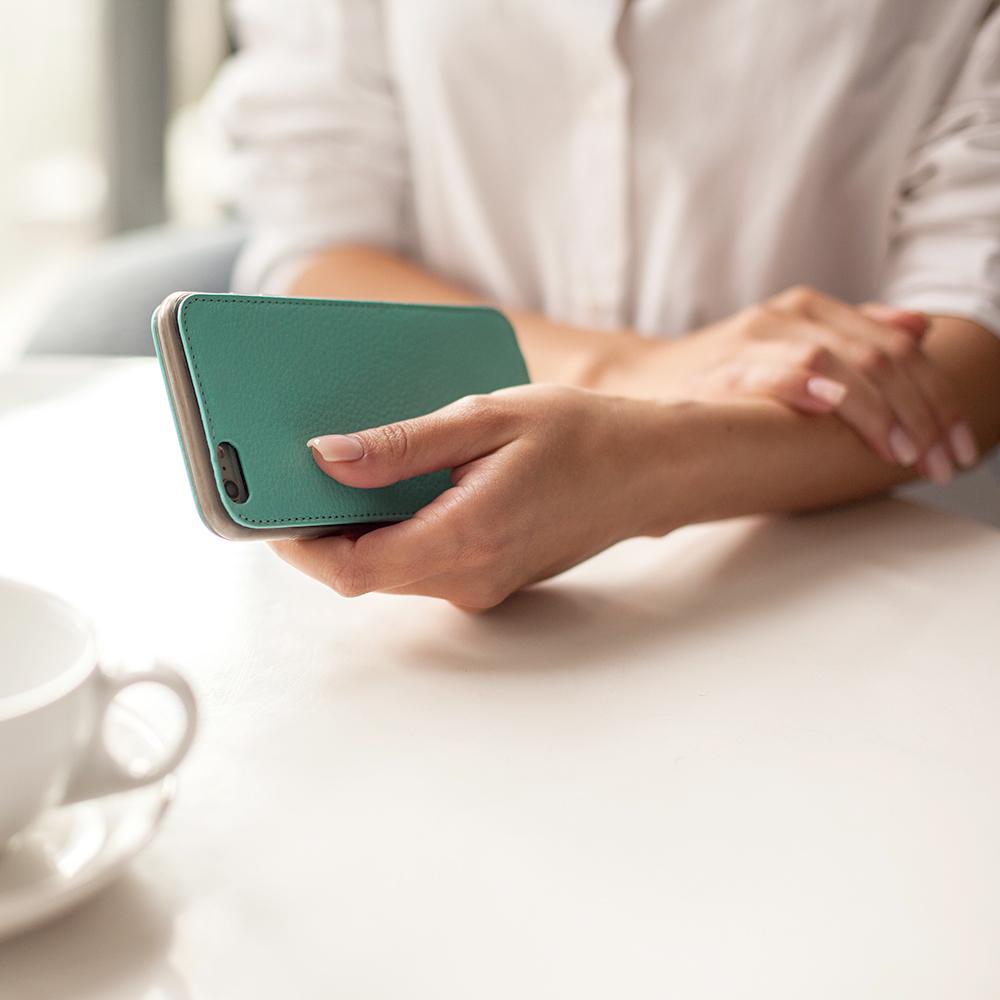 Чехол для iPhone 6/6S Plus из натуральной кожи теленка, цвета тиффани