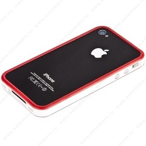 Бампер для iPhone 4s/ 4 красный с белой полосой