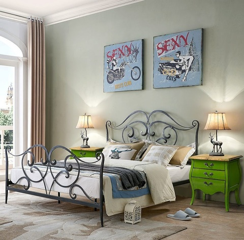 Кровать ESF TDF06009 черная с серым и Тумба прикроватная FL 4015 зеленая