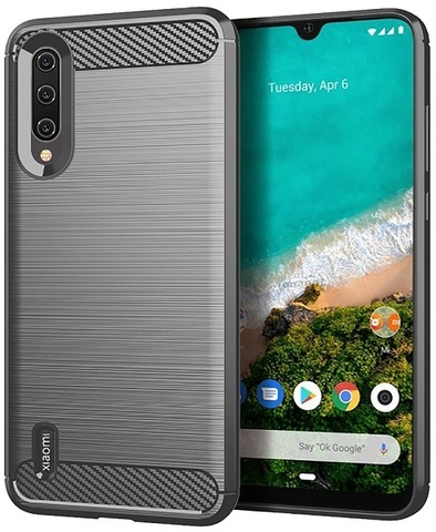 Чехол Xiaomi Mi 9 Lite (A3 Lite, CC9) цвет Gray (серый), серия Carbon, Caseport