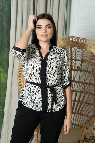 Прима. Красивая комбинированная блуза больших размеров