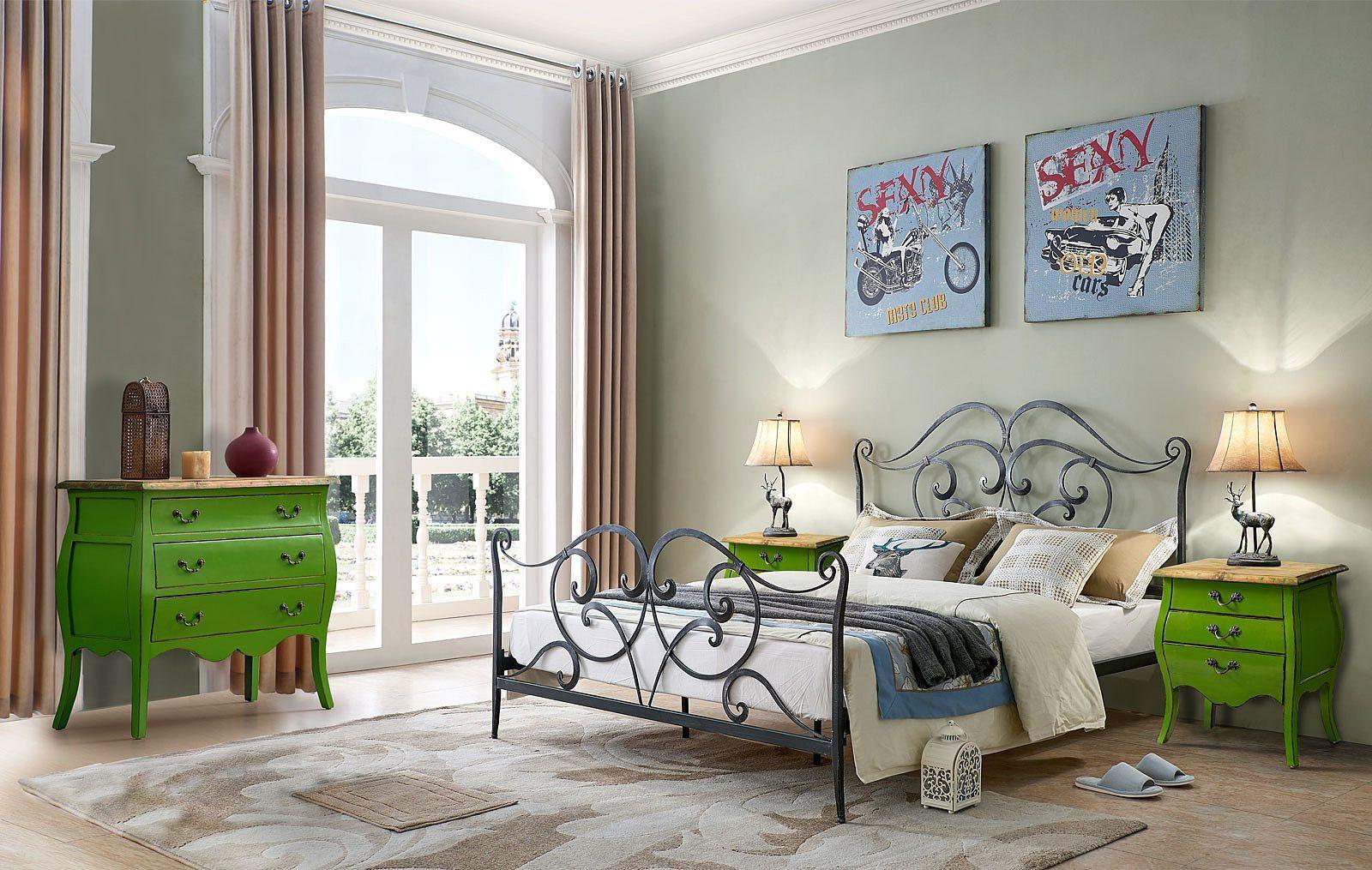Кровать ESF TDF06009 черная с серым, Тумба прикроватная FL 4015 зеленая и Комод FL-4022 Цвет: зеленый F2