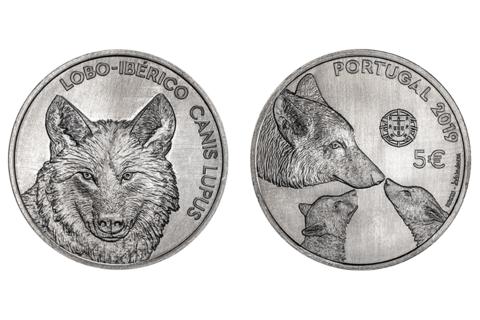 5 евро. Иберийский волк. Португалия. 2019 год.