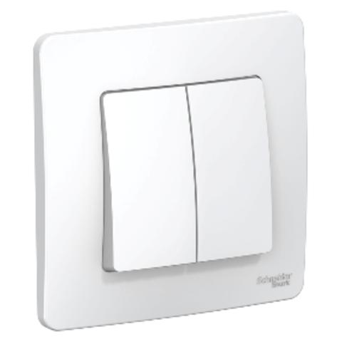 Выключатель двухклавишный. 10А. 250B. Цвет Белый. Schneider Electric Blanca. BLNVS010501