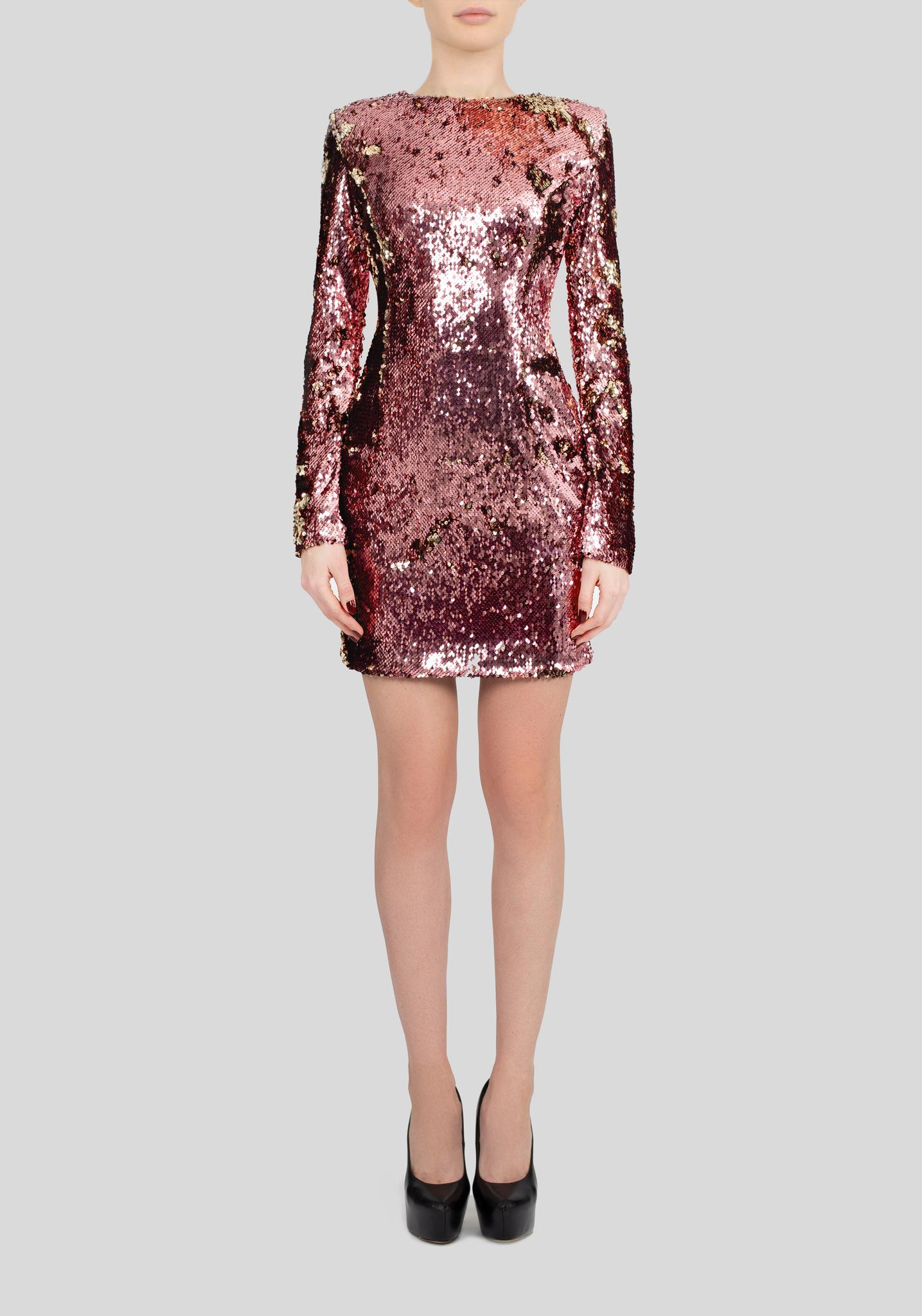 Платье мини из двусторонних пайеток