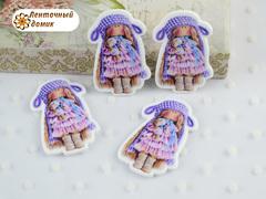 Пластиковый декор Тильда в фиолетовой шапочке №7 (глянец)