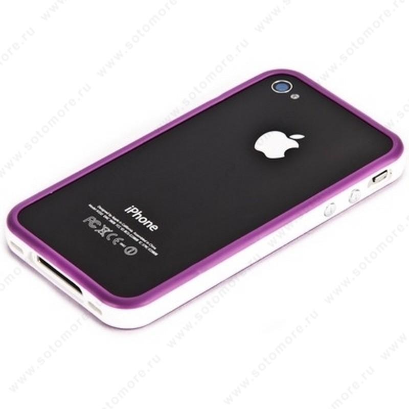 Бампер для iPhone 4s/ 4 фиолетовый с белой полосой