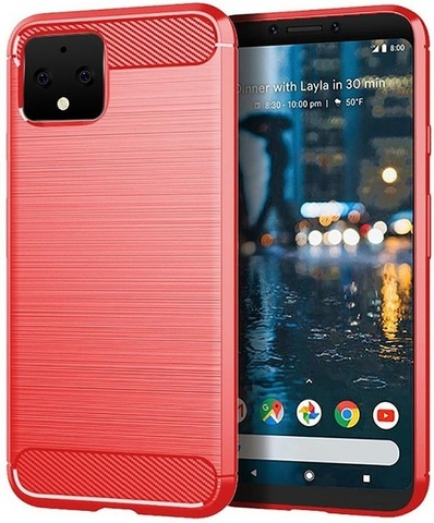 Чехол Google Pixel 4 цвет Red (красный), серия Carbon, Caseport