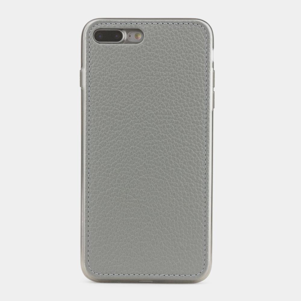 Чехол-накладка для iPhone 8 Plus из натуральной кожи теленка, стального цвета