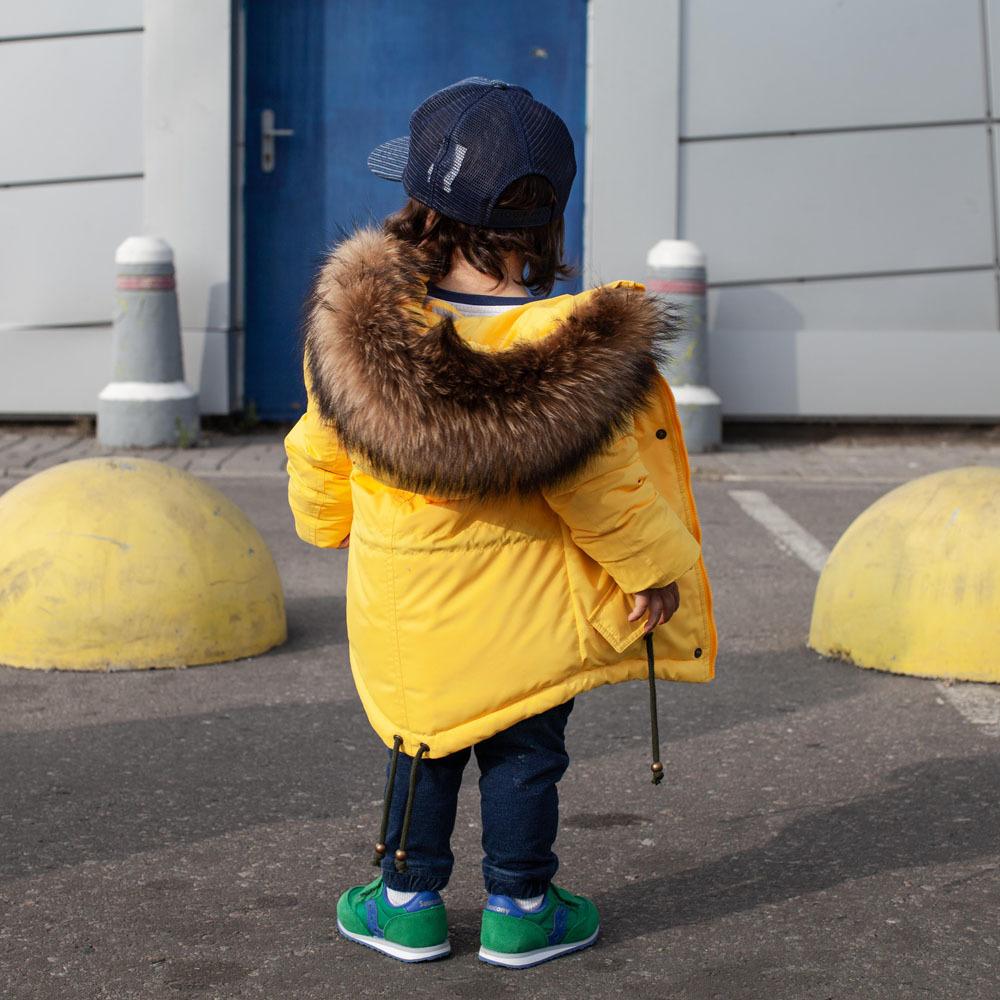 Зимняя подростковая желтая парка с мехом