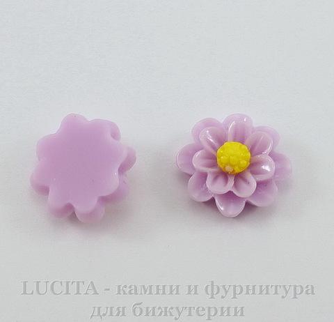 """Кабошон акриловый """"Цветочек"""", цвет - сиреневый, 13 мм, 5 штук"""
