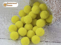 Помпоны кашемировые желтые 20 мм