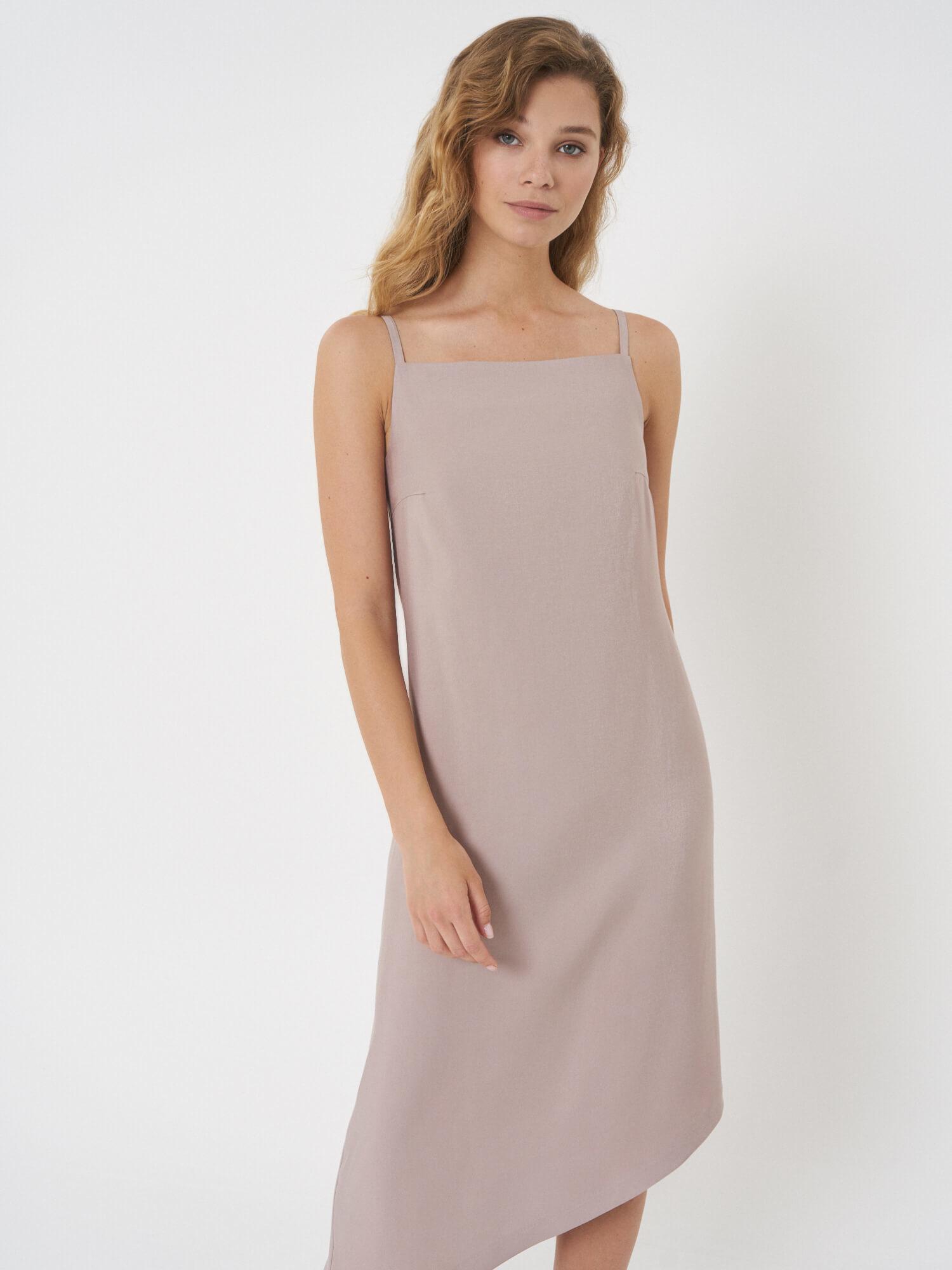 Платье Ashley с асимметричным низом, Бежевый