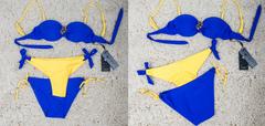 Купальник №5 Брошь 3в1 Синий с желтым