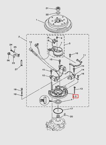 Основание магнето для лодочного мотора T40 Sea-PRO (8-3)