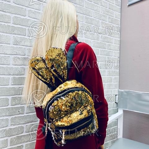 Рюкзак с пайетками и ушами Заяц меняет цвет Золотистый-Серебристый