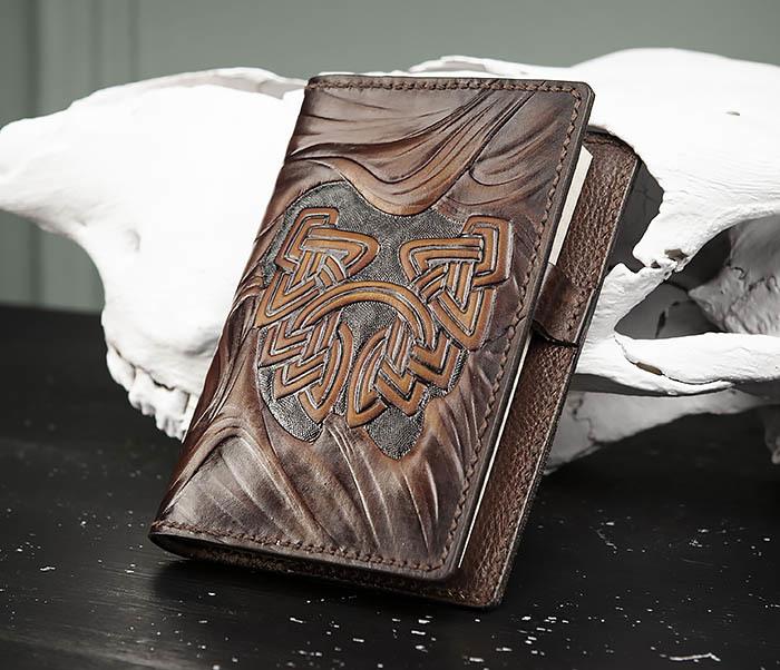 BC206-2 Крутой кожаный блокнот «Борода» ручной работы (А6) фото 02