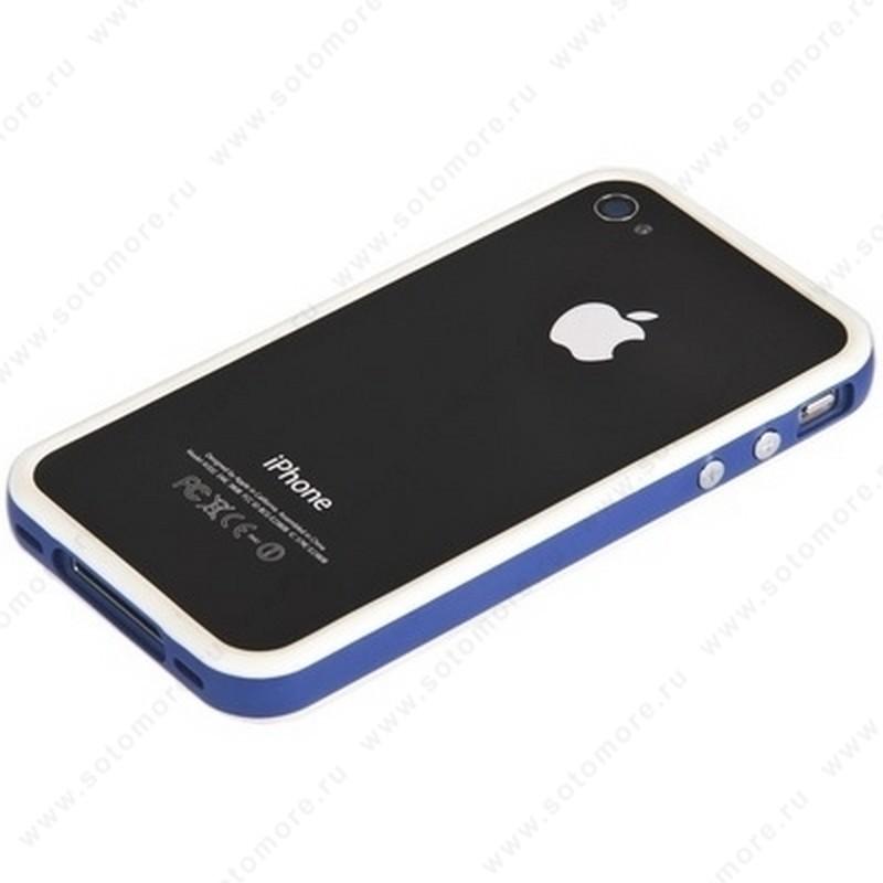 Бампер для iPhone 4s/ 4 белый с синей полосой