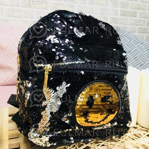 Рюкзак с двусторонними пайетками нашивкой Смайлик меняет цвет Чёрный-Серебристый