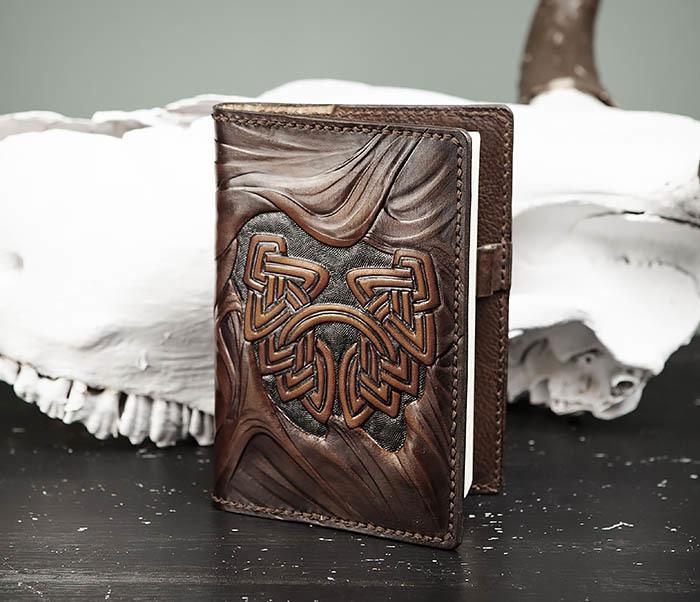 BC206-2 Крутой кожаный блокнот «Борода» ручной работы (А6) фото 03