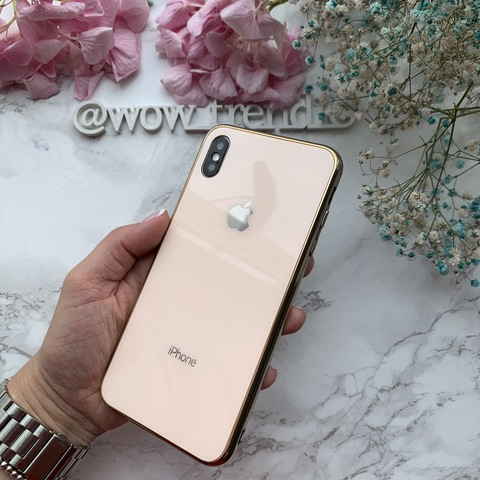 Чехол iPhone XS MAX Glass Case Logo /gold/