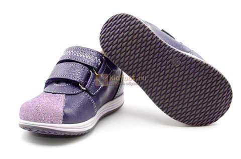 Ботинки для девочек Лель (LEL) из натуральной кожи на липучках цвет фиолетовый, 3-927A. Изображение 11 из 16.